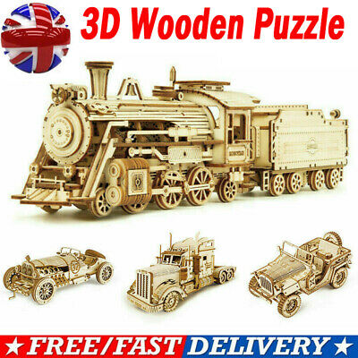 DIY 3D Wooden Puzzle Jigsaw Train Model Building Blocks Toy Children Adults Gift • 14.89£