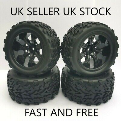 😀2nds 1/10 Wheels & Tyres Hsp Himoto Redcat Rc Monster Truck Losi 12mm Hex 4x😀 • 21.99£