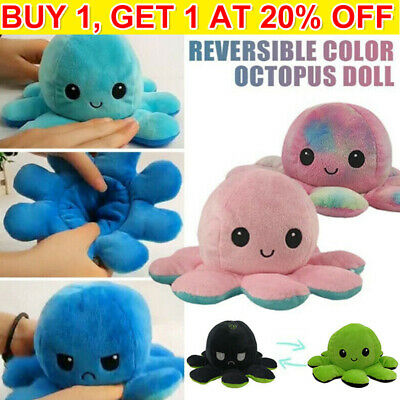 Funny Double-Sided Flip Reversible Cute Plush Toys Animals Doll Gift UK • 5.99£