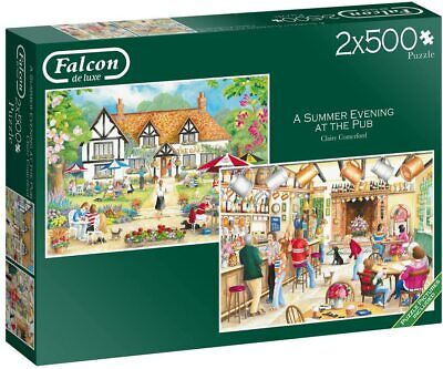 Falcon De Luxe/ Jumbo A Summer Evening At The Pub - 2 X 500pc Jigsaw Puzzle • 15.49£