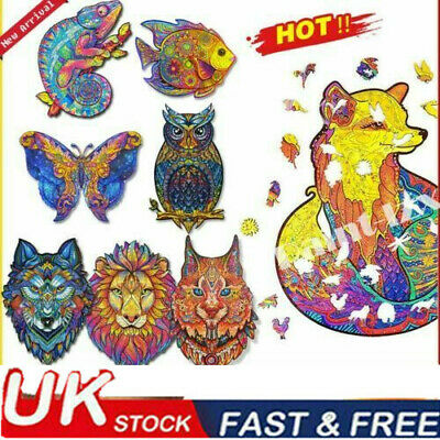 Wooden Jigsaw Puzzles Unique Animal Shape Adult Kid Child Toy Gift Home UK • 9.26£