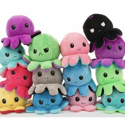 New Cute Double-Sided Flip Reversible Octopus Plush Toys Animals Doll Gift UK • 8.49£