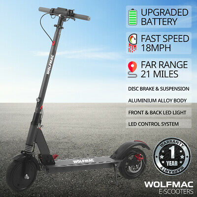 Wolfmac™ H4 Electric E-Scooter, 2021 Model Scooter, 18mph, Adult & Children • 269£