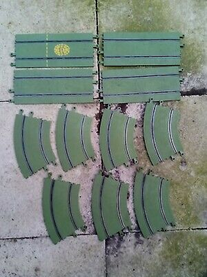 11 X Scalextric Slot Car Green Track Pieces Curves & Straights • 5£