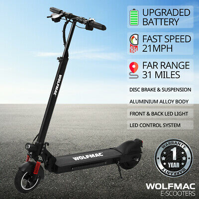 Wolfmac™ H5 Electric E-Scooter, 2021 Model Scooter, FAST 21mph, Children & Adult • 349£