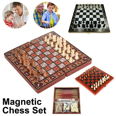 3 IN 1 Magnetic Chess Checkers Backgammon Set Kids Adults Board Chess Game Toy • 10.99£
