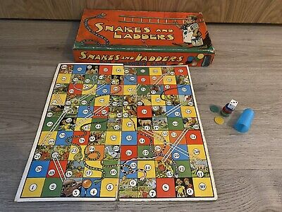Boxed Vintage / Old 1930's Snakes And Ladders Board Game - No Other Kind On Ebay • 3.20£