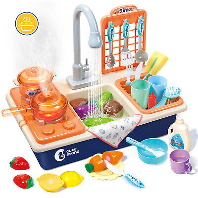 Pretend Kitchen Sink Wash-Up Play Set With Running Water For Kids Role Play Toy • 9.99£
