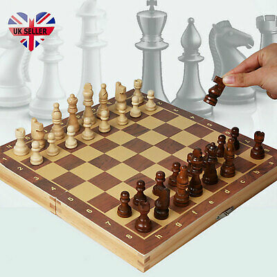 Large Chess Wooden Set Folding Chessboard Magnetic Pieces Wood Board UK New • 15.99£