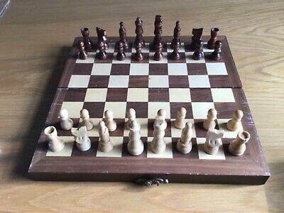 Wooden Pieced Chess Set In A Lined Wooden Box, Brass Hinges And Pieces Bagged • 7.60£