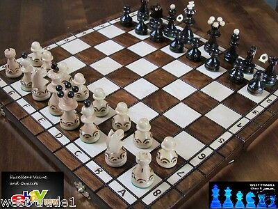 Brand New ♞ Hand Crafted Pearl  Wooden Chess  Set 35cm X 35cm ♜ • 27.89£