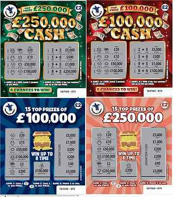 Fake Joke Lottery Scratch Cards Tickets £100,000 + £250,000 Best On Ebay!!! • 6.95£