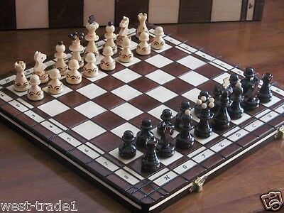 Brand New♞  Hand Crafted Pearl  Wooden Chess And Draughts Set 36cm X 36cm ♚ • 27.89£