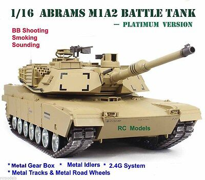Heng Long Abrams  M1A2 Radio Remote Controlled RC  Tank 1/16  -- Platinum • 399.99£