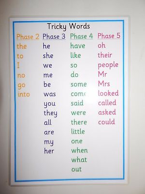 Tricky Word A4 Laminated Poster (tricky Words Phases 2 -5) -Literacy - Phonics • 1.85£