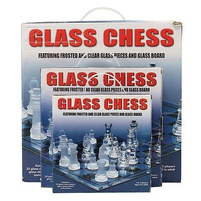 Traditional Chess Set Glass Board Game Beautiful Unique Gift 32 Pieces Party Fun • 19.99£