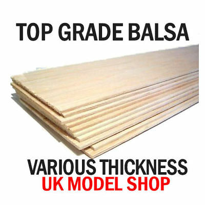 Balsa Wood Balsa Sheet 36  (915mm) Long 4  Wide 1.5-2.5-3.00-5.00-6.00-12.00mm • 39.99£