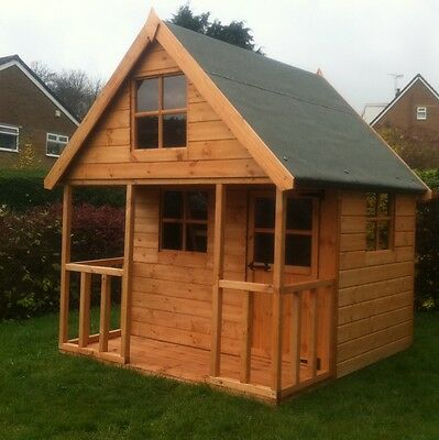 Childrens Wooden Play House 6x6 Mini Chateau Timber Two Storey Kids Outdoor Den • 614£