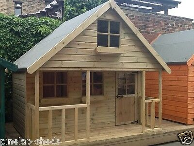 10x8 Childrens Wooden Playhouse Two Storey Kids Mini Chateau Tanalised T&G Den • 998£