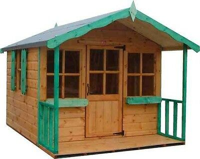 8x6 CHILDRENS WOODEN T&G PLAYHOUSE 8FT X 6FT WENDY HOUSE KIDS OUTDOOR COTTAGE • 505£