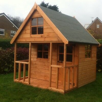 Wooden Playhouse Childrens 6x6 Kids Outdoor Wendy House Two Story Play Den  • 549£