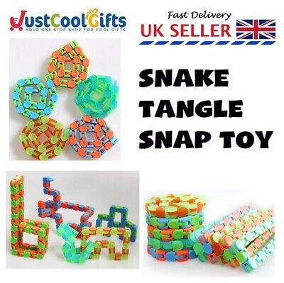 Snake Tangle Toy Puzzle Snap Relax Anxiety Stress Adhd Fidget Sensory Aid Uk  • 2.49£