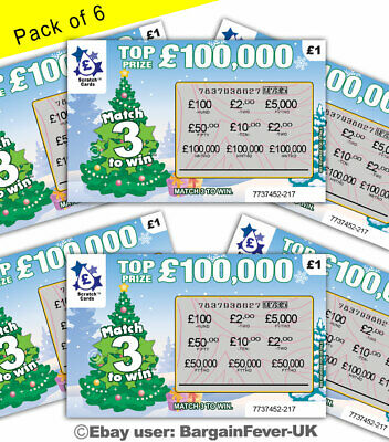 FAKE XMAS SCRATCH CARDS SCRATCHCARD TICKETS JOKE -Put In Xmas Cards SECRET SANTA • 2.49£