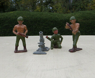 Vintage Crescent Lead Hollowcast US Infantry GI Bronzed Top Mortar Team • 29.99£