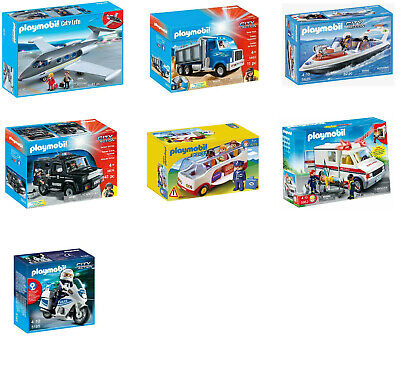 Playmobil Toys - Jet/Plane, Dump Truck, Coastal Rescue Boat, Tactical Unit Car • 12.99£