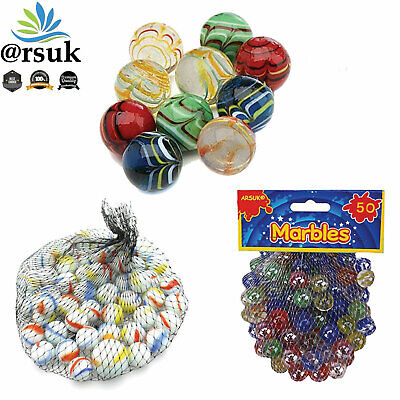 Glass Marbles Assorted Cat's Eye & Milky Coloured Kids Toys Vintage Puzzle Games • 6£