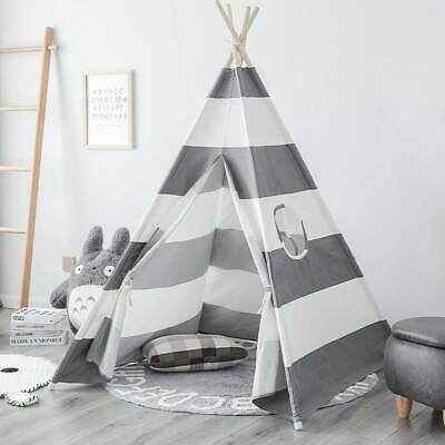 Gray Teepee Tent Cotton Canvas Kids Wigwam Childrens Indoor Outdoor Play House • 26.56£