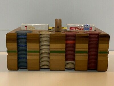 Antique Old Wood Poker Caddy Set With Two Card Decks • 86.96£