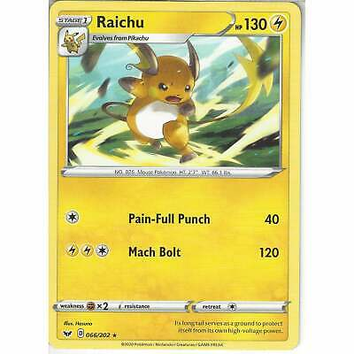 066/202 Raichu | Rare Card | Pokemon TCG Sword And Shield (Base Set) S&S • 0.99£
