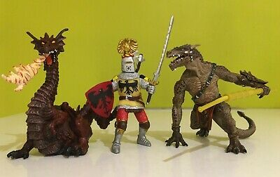 Papo  Knight Mutant Dragon  And  Fire Dragon Bundle Figures • 13.99£