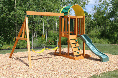 Kidkraft Ainsley Wooden Swing Set | Kids Wooden Play House Swing Slide Set • 430£