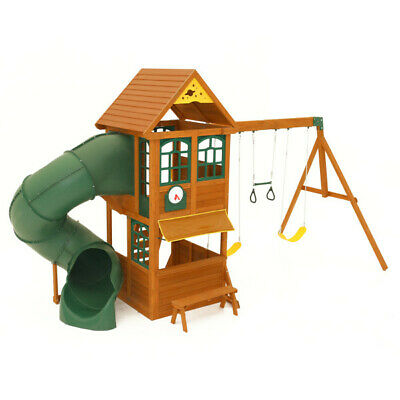 Kidkraft Forest Ridge Swing Play Set | Wooden Playhouse Large Slide Rock Wall • 1,199£