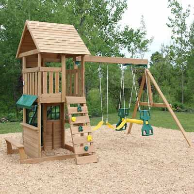 Kidkraft Windale Wooden Swing And Slide Playset | Playhouse, Glider, Rock Wall • 1,199£