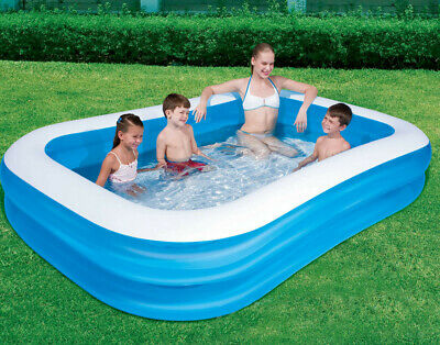 Giant Rectangular Paddling Pool Family Summer Inflatable Outdoor Kids Family Fun • 29.89£