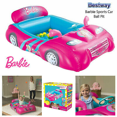 Bestway Barbie Ball Pit Sports Car Kids Girl Inflatable Indoor Outdoor Play Pink • 29.95£
