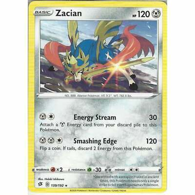 139/192 Zacian | Rare Card | Pokemon TCG Sword & Shield Rebel Clash SWSH02 • 1.75£