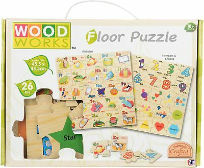 Wood Works Alphabet Childrens Learning Puzzle Kids Teaching Wooden Jigsaw Toys • 4.99£