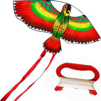 3D Parrot Kite Kids Toy Fun Outdoor Flying Activity Game Children Gift WithTail • 3.09£