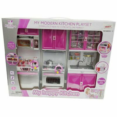 Pretend Play Kitchen Deluxe Modern Many PCS Play Set Light Sound Role Play UK  • 19.99£