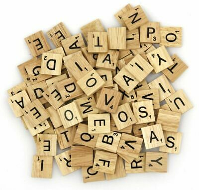 100 Wooden Scrabble Tiles Black Letters Numbers For Crafts Wood Alphabets Toys • 4.99£