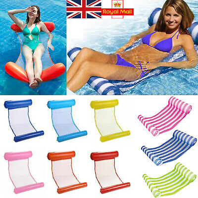UK Water Hammock Float Pool Lounge Summer Inflatable Floating Bed Swimming Chair • 13.99£