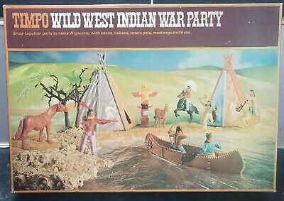 Rare Timpo Toys 253 Wild West Series Indian War Party Boxed Vintage Soldiers • 150£