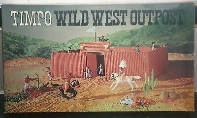 Rare Timpo Toys 257 Wild West Outpost Cowboys & Indians Fort Set Boxed • 275£