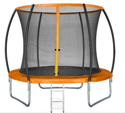 10FT Trampoline With Internal Safety Net Enclosure, Ladder+rain Cover (48hr Del) • 169.99£