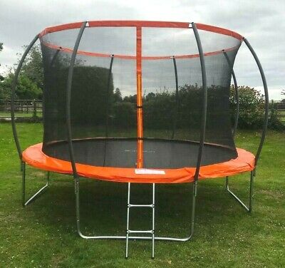 12FT Trampoline With Internal Safety Net Enclosure, Ladder+rain Cover (48hr Del) • 199.99£