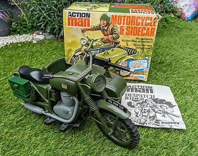 Vintage Action Man Despatch Motorcycle & Sidecar Boxed Palitoy Bike Motorbike • 118£